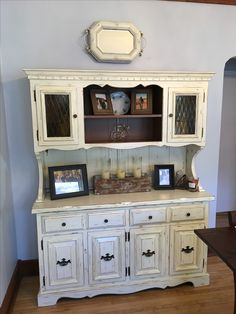 White Distressed Dining Room Hutch