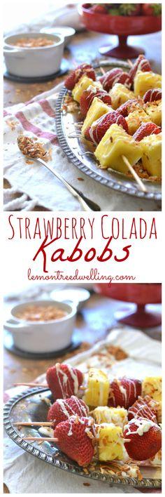 Strawberry Colada Kabobs | Lemon Tree Dwelling