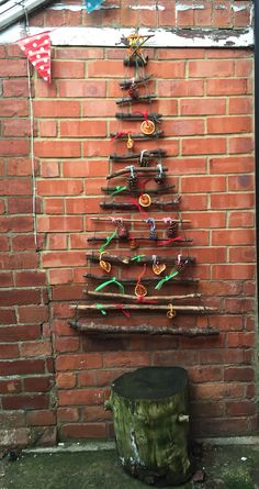 Christmas tree and decorations made by the kids
