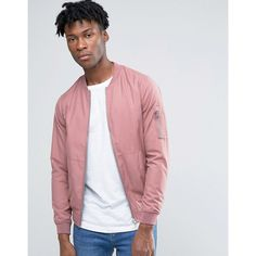 Pull&Bear Bomber Jacket In Pink ($36) ❤ liked on Polyvore featuring men's fashion, men's clothing, men's outerwear, men's jackets, pink, tall mens jackets, mens lightweight bomber jacket, mens pink jacket, mens zip up jackets and mens light weight jackets