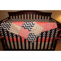 Baby Girl Crib Bedding Navy Chevron Coral and Glitz White Gold Dot... ($100) ❤ liked on Polyvore featuring home, children's room, children's bedding, baby bedding, bedding, black and home & living