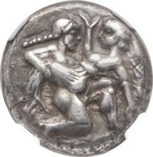 THRACIAN ISLANDS. Thasos. Ca. 500-480 BC. AR stater (19mm, 9.36 gm). Satyr advancing right, carrying off protesting nymph / Quadripartite incuse square. Le Rider, Thasiennes,