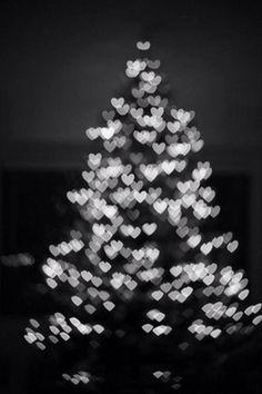 White Christmas tree with heart lights #splendidholiday