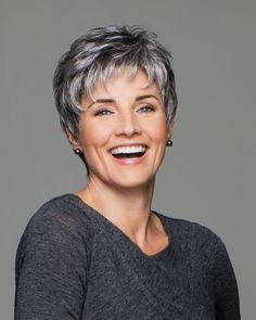Incentive Try it tousled or tailored. This versatile cut has the built-in motivation of easy styling Short Cropped Hair, Short Grey Hair, Short Hair Cuts, Pixie Cuts, Short Pixie, Red Pixie, Wavy Pixie, Blonde Pixie, Short Blonde