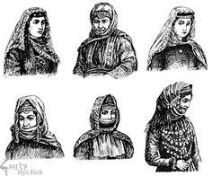 Different headdresses of Eastern Armenian women. Traditional Fashion, Traditional Dresses, Armenian American, Costumes Around The World, Folk Costume, Historical Clothing, Fashion History, Headdress, Culture