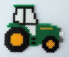 John Deere tractor hama beads by Las cosicas de Luisa John Deere Perler Bead Designs, Perler Bead Templates, Hama Beads Design, Diy Perler Beads, Perler Bead Art, Melty Bead Patterns, Pearler Bead Patterns, Perler Patterns, Beading Patterns