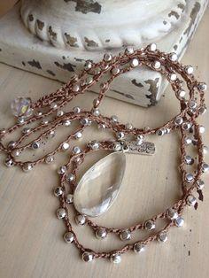 Shabby chic boho glam crochet silver glam crystal quartz teardrop silver charm long necklace by MarleeLovesRoxy