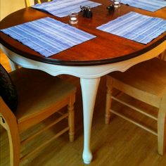 Upcycle Dining Table Dark Walnut Top Antique White Bottom