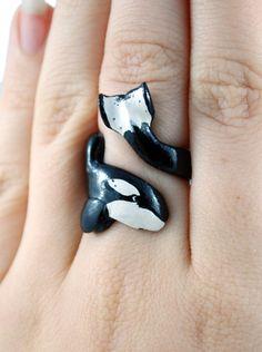 Adjustable Keiko (Free Willy) Orca Ring. $40.00, via Etsy.