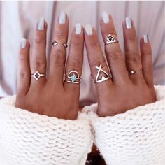 Tomtosh Bohemian 6pcs/Pck Vintage Anti Silver Blue gem Rings Lucky Stackable Midi Rings Set of Rings for Women Party
