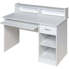 White Lacquer Desk with Drawers Essential White puter Desk Hutch with Pull Out Keyboard Computer Desk In Bedroom, Computer Desk With Hutch, Desk Hutch, Desk Shelves, Bedroom Desk, Computer Tables, Computer Armoire, Gaming Desk, Vanity Desk