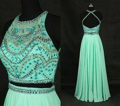Mint Green Beading Long Prom Dresses/Long Two Piece Homecoming Dress/Classy Party Dress/Reception Dress/Criss Cross Back Prom Dress WDD039