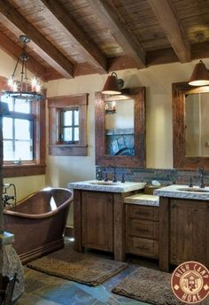 Simple and Rustic Bathroom Design for Modern Home : Classic Rustic Barn Bathroom With Double Wooden Vanity
