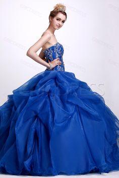 A-Line Floor-Length Strapless Angerliks Quinceanera Ball Gown Dress