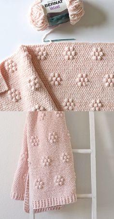 Crochet Afghans 290341507226631773 - Free Crochet Pattern – Crochet Velvet Flowers Blanket Source by carowy Crochet Flower Patterns, Crochet Blanket Patterns, Baby Blanket Crochet, Crochet Flowers, Bunny Blanket, Stitch Patterns, Modern Crochet Blanket, Crochet Pillow, Fabric Flowers