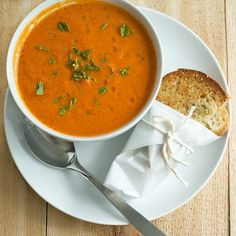 Yummy tomato soup. Made it tonight. PLEASE NOTE- if you, like me, do not have an immersion blender- please follow their directions for blending. If you don't, hot soup WILL fly all over your kitchen and arms which hurts and is not fun to clean. Don't be like me. ;)