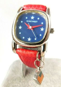 Ladies Nine West Watch Red White and Blue With Flag Trinket Patriotic New Bat, Watch 24, Red Band, Cool Watches, Quartz Watch, Nine West, Red And White, Black Leather, Flag
