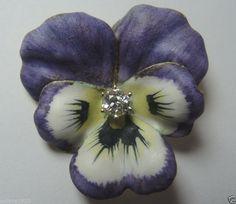 Art Nouveau European Diamond Enamel Pansy Pin 14K Yellow Gold Fine Jewelry #Handmade