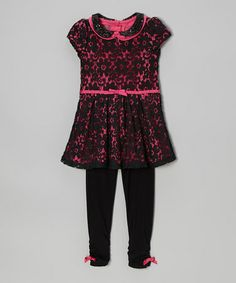 Take a look at this Pink & Black Lace Dress & Leggings - Girls by Young Hearts on #zulily today!