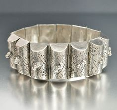 Vintage Taxco Mexican Sterling Silver Bracelet, Mexico Silver Jewelry, 1940s Vintage Jewelry Taxco Bracelet