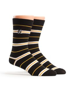 This classic stripped sock is detailed with the color gold, the designated awareness color of Childhood Cancer.  See more at https://rockthesocks.org #socks #stripes #gold #black #white #childhoodcancer https://rockthesocks.org
