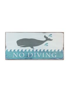 No Diving hand painted sign by Barn Owl Primitives. perfect for a bathroom or a great addition to your beach / nautical decor.