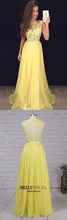 Long Prom Dresses,Daffodil Formal Evening Dresses Modest,Chiffon Wedding Party Dresses For Women,Lace Graduation Pageant Dresses Elegant #MillyBridal #daffodildress #lacedresses