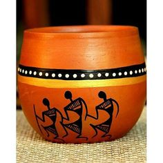 Warli painted terracotta Kulhad from UnravelIndia.in Contemporary Warli, tribal . Worli Painting, Bottle Painting, Ceramic Painting, Bottle Art, Bottle Crafts, Pottery Painting Designs, Pottery Designs, Paint Designs, Painted Plant Pots