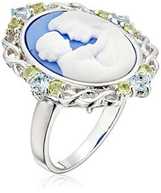Sterling Silver Blue Topaz Peridot and Blue Cameo Ring Size 7 * Continue reading at the image link.