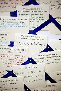guests wrote advice and memories on notecards with pre-printed phrases – wedding guestbook!