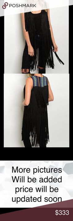 Black Faux Suede Fringe Multicolored Vest NWT Black Fringe Multicolored Vest 100% Polyester   Available in Small, Medium & Large  No Trades No Holds Jackets & Coats Vests