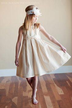 The Rosette Rustic Dress: Flower Girl Dress Cotton Satin Silk. $65.00, via Etsy.