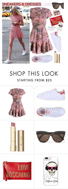 """""""Sporty Chic: Sneakers and Dresses"""" by watereverysunday ❤ liked on Polyvore featuring Zimmermann, adidas Originals, Stila, Le Specs, Love Moschino, Casetify, StreetStyle, chic, sporty and StreetChic"""