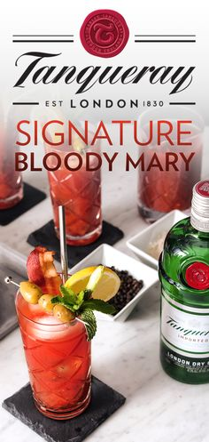 Here's to a fresh New Year. Welcome 2018 with a Bloody Mary. This classic cocktail will elevate your brunch game. Just mix 1.25 oz. Tanqueray London Dry Gin, 3.5 oz tomato juice, .75 oz fresh lemon juice, 2 dashes Worcestershire sauce, 4 dashes red pepper sauce, 1 pinch of salt & 1 pinch of pepper into an ice-filled shaker. Mix. Strain into a Collins glass filled with ice, garnish with a lemon wheel, celery stalk, green olives and a strip of bacon. Top it off with some mint and enjoy.