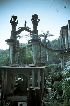"""Hidden in this rainforest you can find 80 acres of natural pools, waterfalls and giant surrealist sculptures...  Las Pozas - """"the Pools"""" were created by British surrealist poet Edward James, more than 2,000 ft above sea level, in a subtropical rainforest in the mountains of Mexico.  Las Pozas includes more than 80 acres of natural waterfalls and pools interlaced with towering Surrealist sculptures in concrete."""
