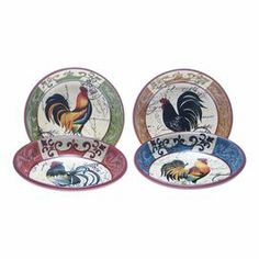 "Showcasing a multicolored rooster motif, this charming pasta bowl brings whimsical appeal to your next dinner party.  Product: Set of 4 pasta bowls   Construction Material: Stoneware   Color: Multi    Features:  Hand-painted   Rooster design      Dimensions: 12.63"" Diameter each     Cleaning and Care: Dishwasher safe"