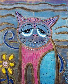 Art: Color Me Cat by Artist Laura Barbosa; mixed media