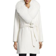 Sofia Cashmere Fur-Collar Belted Wrap Coat ($1,595) ❤ liked on Polyvore featuring outerwear, coats, white, shawl collar wrap coat, white wrap coat, belted coat, fox coat and white oversized coat