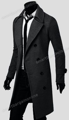 Mens Trench Coat Winter Warm Long Jackets Outwear Double Breasted Overcoat s XXL | eBay #longwintercoats