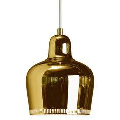 The Artek Golden Bell Suspension Lamp was designed in 1937 by Alvar Aalto for the label Artek. The suspension lamp Golden Bell by Artek is a classic amon Alvar Aalto, Modern Pendant Light, Pendant Lighting, Pendant Lamps, Brass Pendant, Brass Lamp, Pendants, Light Fittings, Light Fixtures