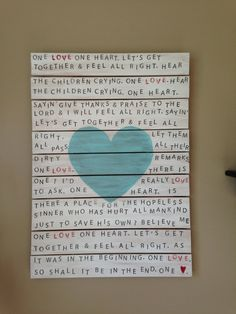 One Love, Bob Marley lyrics painting on reclaimed lumber on Etsy, Sold