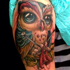 Owl knitting!! Match made.  Tattoo by Kelly Doty