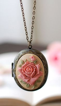 Rose Cameo Locket Necklace