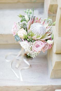 Newest Pics Bridal Bouquet protea Strategies Because one of the most significant and chic gadgets of any bride, your own bridal bouquet echoes si Small Wedding Bouquets, Small Bouquet, Bride Bouquets, Bridal Flowers, Flower Bouquets, Wedding Dresses, Protea Bouquet, Protea Flower, Protea Wedding