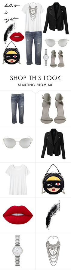 """""""White is right"""" by amrinjo ❤ liked on Polyvore featuring Current/Elliott, Chicnova Fashion, LE3NO, Toast, Lime Crime and Emporio Armani"""
