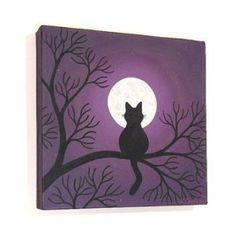 Black Cat Under a Full Moon original painting - acrylic art with the silhouette of a cat sitting in tree branches at night, on square canvas Cute Canvas Paintings, Small Canvas Art, Easy Canvas Painting, Mini Canvas Art, Original Paintings, Canvas Canvas, Moonlight Painting, Moon Painting, Painting Art