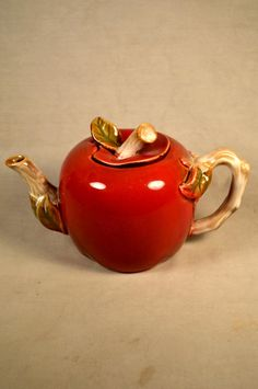 Apple Shaped Teapot Red Fruit Shape by SnapshotsThroughTime