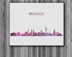 Munich skyline watercolor poster, Art Print, instant download,  Watercolor Print, poster by digitalaquamarine on Etsy https://www.etsy.com/listing/208240831/munich-skyline-watercolor-poster-art