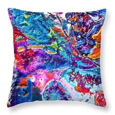 Abstract Impression Colorful Tropical Fish Reef.bright Vibrant Blues And Hot Orange With Yellow And Some Green.very Colorful Fun.full Of Texture And The Feeling Of Being Underwater Throw Pillow featuring the painting #128 Reef Pour by Expressionistart studio Priscilla Batzell