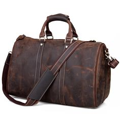 Men's Vintage Crazy Horse Leather Travel Bag / Luggage / Duffle Bag